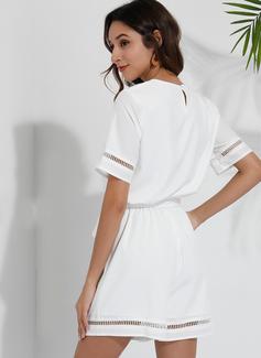 Solid A-line kjole V-hals Kortermer Avslappet rompers Motekjoler