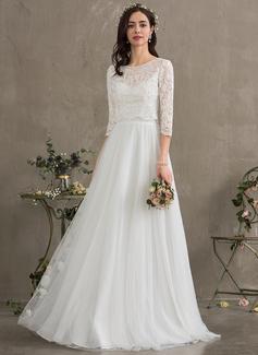 A-Line Sweetheart Floor-Length Tulle Wedding Dress