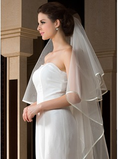 One-tier Ribbon Edge Chapel Bridal Veils With Ribbon
