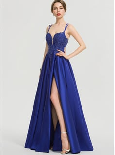 A-Line V-neck Floor-Length Satin Prom Dresses With Sequins Split Front