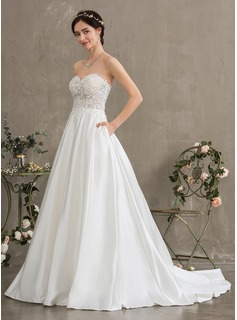 Ball-Gown/Princess Sweetheart Court Train Satin Wedding Dress With Beading Sequins Pockets