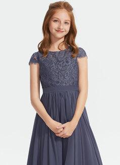 A-formet Scoop Hals Asymmetrisk Chiffong Blonder Brudepikekjole til tenåringer