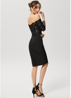 Linjeform Off-the-Shoulder Knelengde Blonder Strekk-crêpe Cocktailkjole med paljetter
