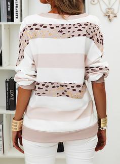 Rund hals Lange ermer Regelmessig Color Block Leopard Genser