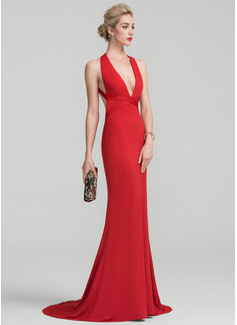 Trumpet/Mermaid V-neck Sweep Train Jersey Evening Dress