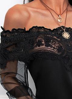 Regelmessig Montert Blonder Solid Elegant Ballongerme Lange ermer
