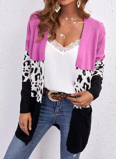 V-hals Lange ermer Regelmessig Leopard Color Block Avslappet Cardigans