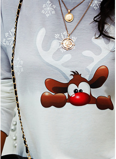 Rund hals Lange ermer Regelmessig Christmas Dyr Ut Gradient Jerseykjorte