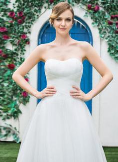 A-formet/Prinsesse kjæreste Te-lengde Tyll Brudekjole med Frynse