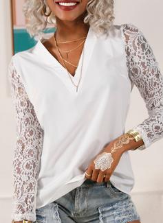Regelmessig Montert Blonder Solid Elegant Lange ermer Puffete ermer