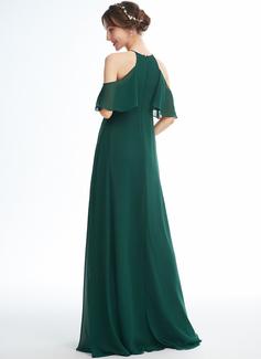 A-line kjole Halterneck Gulvlengde Chiffong Brudepikekjole for Gravide med Frynse