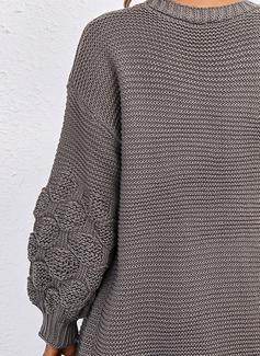 V-hals Lange ermer Regelmessig Solid Avslappet Cardigans