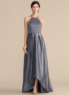 A-Line Square Neckline Asymmetrical Satin Bridesmaid Dress With Ruffle Bow(s)