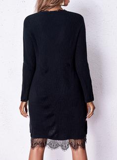V-hals Lange ermer Regelmessig Solid Avslappet Gensere kjoler