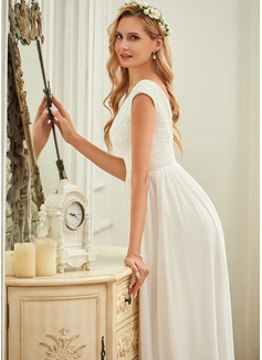 A-Formet V-hals Gulvlengde Chiffong Blonder Brudekjole