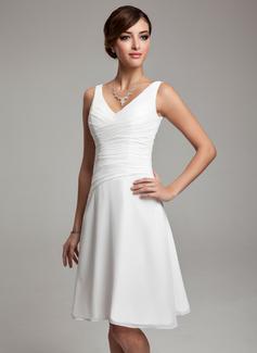 Chiffon Knee-length Bridesmaid Dress with V-Neck