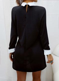 Color Block Skiftekjoler Skjortekrage Lange ermer Midi Elegant Tunika Motekjoler