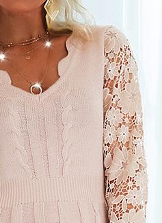 V-hals Lange ermer Regelmessig Solid Elegant Gensere kjoler