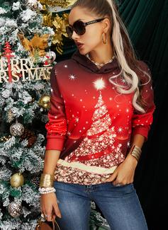 Lange ermer Regelmessig Christmas Trykk Jerseykjorte
