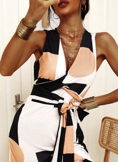 Geometrisk A-line kjole V-hals Ermeløs Midi Elegant skater Wrap Motekjoler