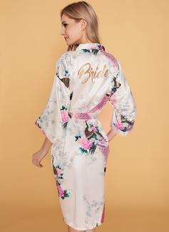 Silk Bride Bridesmaid Floral Robes Glitter Print Robes
