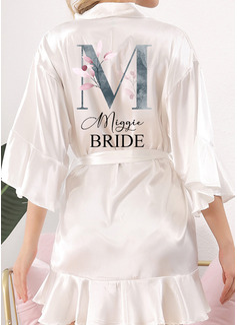 Personlig Polyester Brud Brudepike Mamma Blomsterjente Junior brudepike