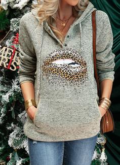 Lange ermer Regelmessig Trykk Leopard Hettegenser
