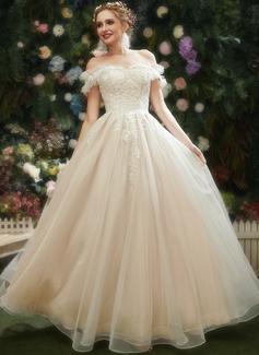 A-Formet kjæreste Gulvlengde Brudekjole med Blonder paljetter