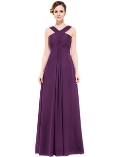 A-Line Y-neck Floor-length Chiffon Bridesmaid Dress