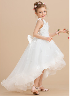 Ballkjole/Prinsesse Asymmetrisk Blomsterpikekjoler - Tyll Uten Ermer V-hals med Profilering/Blomst(er)/Sløyfe (r)