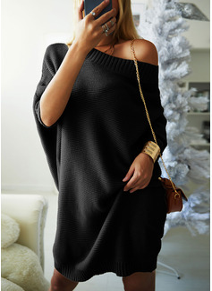 Rund hals Lange ermer Solid Ribbet Avslappet Lang Gensere kjoler