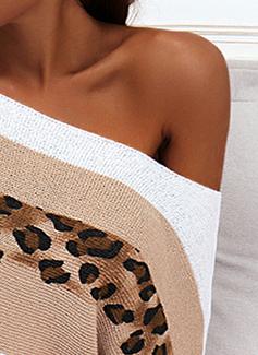 Rund hals 1/2-ermer Regelmessig Leopard Color Block Avslappet Gensere