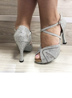 Women's Leatherette Heels Latin With Rhinestone Dance Shoes