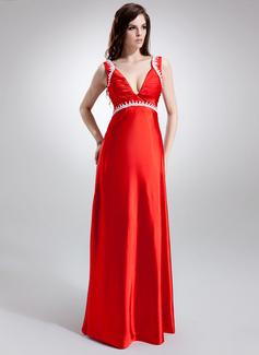 Empire V-neck Sweep Train Charmeuse Maternity Bridesmaid Dress With Ruffle Lace Beading