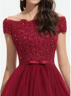 A-Line Off-the-Shoulder Asymmetrical Tulle Prom Dresses With Beading Sequins Bow(s)