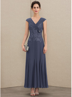 A-Line V-neck Ankle-Length Chiffon Lace Mother of the Bride Dress With Ruffle Beading