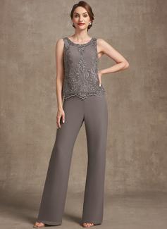 Jumpsuit / Pantsuit Scoop Hals Gulvlengde Chiffong Blonder Festkjole med Profilering paljetter