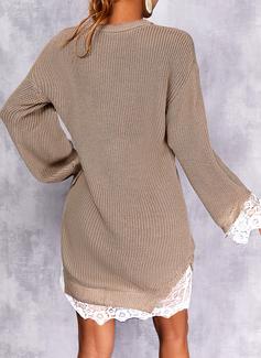 Rund hals Lange ermer Regelmessig Solid Avslappet Gensere kjoler