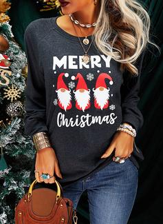 Rund hals Lange ermer Regelmessig Christmas Trykk Tekst Jerseykjorte