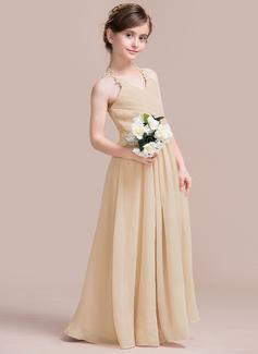 A-Line V-neck Floor-Length Chiffon Junior Bridesmaid Dress With Ruffle Lace