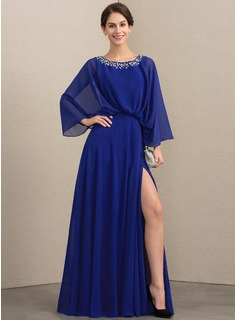 A-Line Scoop Neck Floor-Length Chiffon Mother of the Bride Dress With Beading Split Front