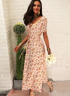 Blomstrete Trykk A-line kjole V-hals Kortermer Midi Boho Avslappet Ferie skater Wrap Motekjoler
