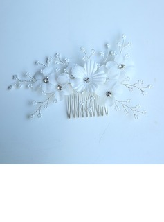 Ladies Gorgeous Silk Flower Combs & Barrettes With Rhinestone (Sold in single piece)