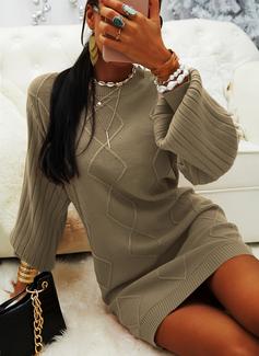 Rund hals Lange ermer Solid Avslappet Lang Gensere kjoler
