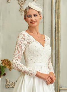 A-Formet V-hals Asymmetrisk Satin Blonder Brudekjole