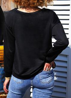 En skuldret Lange ermer Regelmessig Christmas Trykk Figur Jerseykjorte
