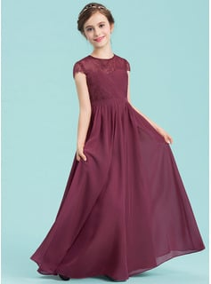 A-Line Scoop Neck Floor-Length Chiffon Junior Bridesmaid Dress With Ruffle Lace