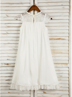 A-Line Tea-length Flower Girl Dress - Chiffon Sleeveless Scoop Neck With Lace/Flower(s)