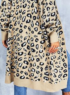 V-hals Lange ermer Lang Leopard Avslappet Cardigans