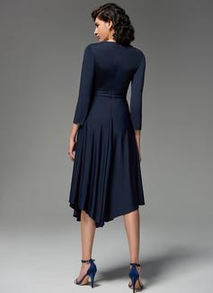 A-Formet V-hals Asymmetrisk Jersey Festkjole